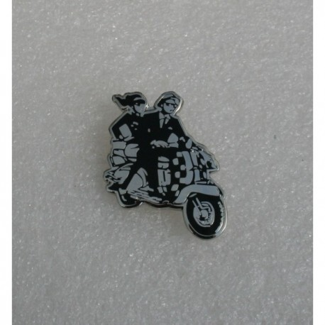 Scooter Couple Cut Out Pin Badge