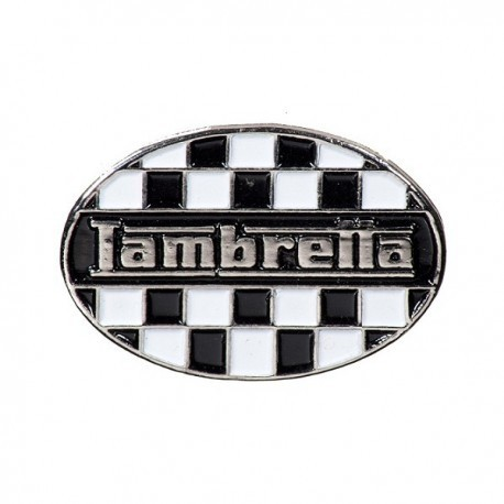Lambretta Chequered Flag Oval Pin Badge