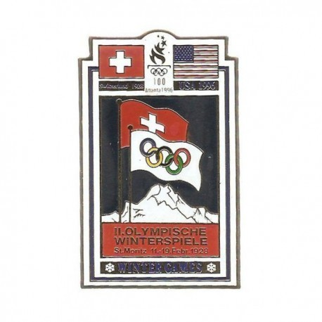 ATLANTA 1996 OLYMPIC COMMEMORATIVE POSTER PIN - ST MORITZ 1928