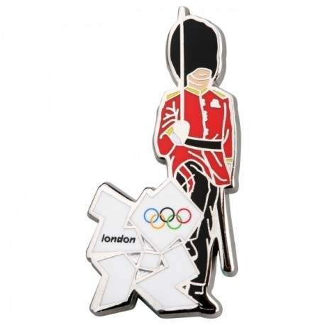 London 2012 Olympic Queens Guard With White Logo Pin Badge