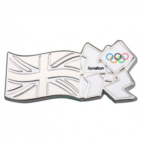 London 2012 Olympic Silver Union Jack/Olympic Logo Pin Badge
