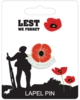 Remembrance Lapel Pin Badge - Lest We Forget Design