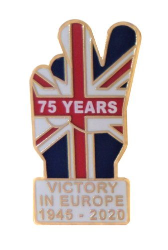 VE Day 75 Years V Shaped Pin Badge