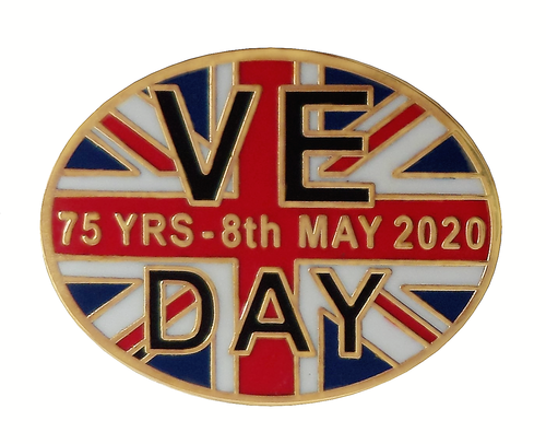 VE Day 75 Years Oval Shaped Pin Badge