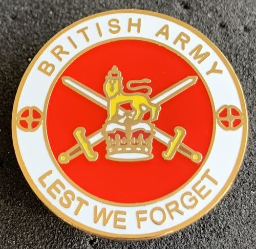 British Army Lest We Forget Pin Badge