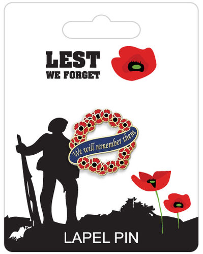 Poppy Remembrance Lapel Pin Badge - Wreath Design