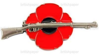 Lee Enfield Rifle Poppy Pin Badge