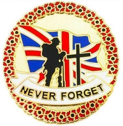 Never Forget Solider Flag Poppy Remembrance Pin Badge